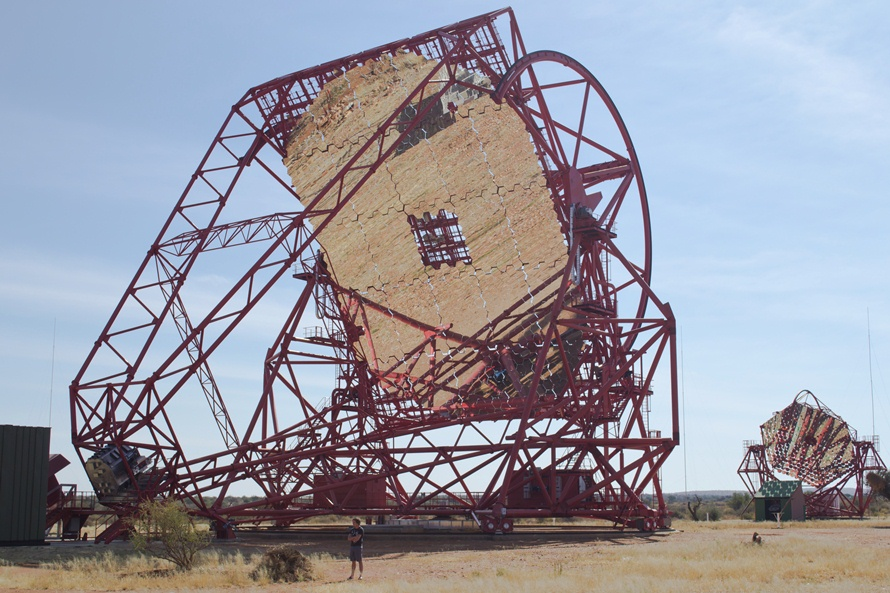 The Southern African Large Telescope (SALT) is the largest single optical telescope in the southern hemisphere and among the largest in the world. It has a hexagonal primary mirror array 11 metres across, comprising 91 individual 1.2m hexagonal mirrors. Even so this is small compared to the new HESS 2 mirror above which covers the area of 2 tennis courts with its 28m mirror comprised of 875 x 90cm hexagonal mirrors.